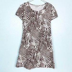 Jones New York brown white zebra print dress XL